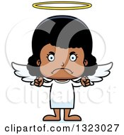 Clipart Of A Cartoon Mad Black Girl Angel Royalty Free Vector Illustration