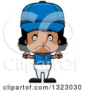 Clipart Of A Cartoon Mad Black Softball Baseball Player Girl Royalty Free Vector Illustration