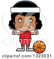 Clipart Of A Cartoon Mad Black Girl Basketball Player Royalty Free Vector Illustration