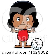 Clipart Of A Cartoon Mad Black Girl Beach Volleyball Player Royalty Free Vector Illustration