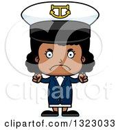 Clipart Of A Cartoon Mad Black Girl Captain Royalty Free Vector Illustration