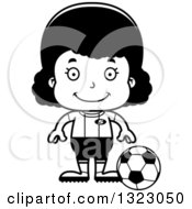 Lineart Clipart Of A Cartoon Happy Black Girl Soccer Player Royalty Free Outline Vector Illustration