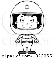 Lineart Clipart Of A Cartoon Happy Black Girl Race Car Driver Royalty Free Outline Vector Illustration