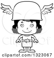 Lineart Clipart Of A Cartoon Happy Black Hermes Girl Royalty Free Outline Vector Illustration