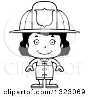 Lineart Clipart Of A Cartoon Happy Black Girl Firefighter Royalty Free Outline Vector Illustration