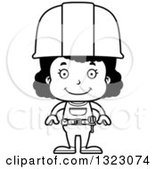 Cartoon Lineart Happy Black Girl Construction Worker