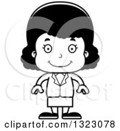 Lineart Clipart Of A Cartoon Happy Black Business Girl Royalty Free Outline Vector Illustration