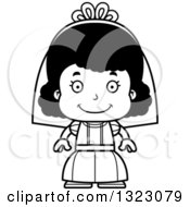Lineart Clipart Of A Cartoon Happy Black Girl Bride Royalty Free Outline Vector Illustration
