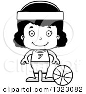 Lineart Clipart Of A Cartoon Happy Black Girl Basketball Player Royalty Free Outline Vector Illustration