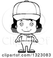 Lineart Clipart Of A Cartoon Happy Black Softball Baseball Player Girl Royalty Free Outline Vector Illustration