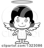 Lineart Clipart Of A Cartoon Happy Black Girl Angel Royalty Free Outline Vector Illustration