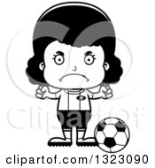 Lineart Clipart Of A Cartoon Mad Black Girl Soccer Player Royalty Free Outline Vector Illustration