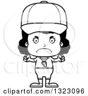 Lineart Clipart Of A Cartoon Mad Black Girl Sports Coach Royalty Free Outline Vector Illustration
