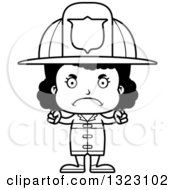 Lineart Clipart Of A Cartoon Mad Black Girl Firefighter Royalty Free Outline Vector Illustration