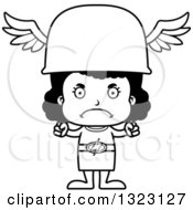 Lineart Clipart Of A Cartoon Mad Black Hermes Girl Royalty Free Outline Vector Illustration