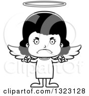 Lineart Clipart Of A Cartoon Mad Black Girl Angel Royalty Free Outline Vector Illustration