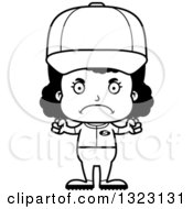Lineart Clipart Of A Cartoon Mad Black Softball Baseball Player Girl Royalty Free Outline Vector Illustration