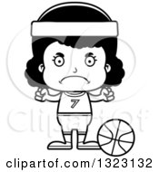 Lineart Clipart Of A Cartoon Mad Black Girl Basketball Player Royalty Free Outline Vector Illustration