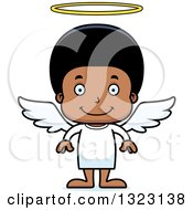 Clipart Of A Cartoon Happy Black Angel Boy Royalty Free Vector Illustration