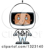 Clipart Of A Cartoon Happy Black Boy Astronaut Royalty Free Vector Illustration
