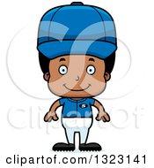 Clipart Of A Cartoon Happy Black Boy Baseball Player Royalty Free Vector Illustration