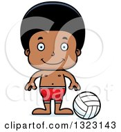 Clipart Of A Cartoon Happy Black Boy Beach Volleyball Player Royalty Free Vector Illustration