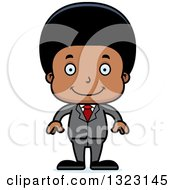 Clipart Of A Cartoon Happy Black Business Boy Royalty Free Vector Illustration by Cory Thoman
