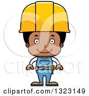 Cartoon Happy Black Boy Construction Worker