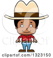 Clipart Of A Cartoon Happy Black Cowboy Royalty Free Vector Illustration