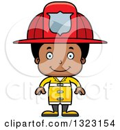 Clipart Of A Cartoon Happy Black Boy Firefighter Royalty Free Vector Illustration