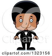 Clipart Of A Cartoon Happy Black Boy Groom Royalty Free Vector Illustration