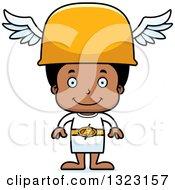 Clipart Of A Cartoon Happy Black Hermes Boy Royalty Free Vector Illustration