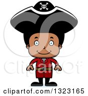 Clipart Of A Cartoon Happy Black Boy Pirate Royalty Free Vector Illustration
