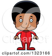 Clipart Of A Cartoon Happy Black Boy Wearing Pajamas Royalty Free Vector Illustration by Cory Thoman