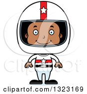 Clipart Of A Cartoon Happy Black Boy Race Car Driver Royalty Free Vector Illustration