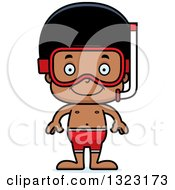 Clipart Of A Cartoon Happy Black Boy In Snorkel Gear Royalty Free Vector Illustration