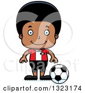 Clipart Of A Cartoon Happy Black Boy Soccer Player Royalty Free Vector Illustration