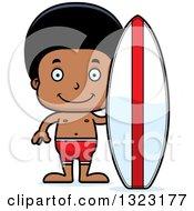 Clipart Of A Cartoon Happy Black Surfer Boy Royalty Free Vector Illustration