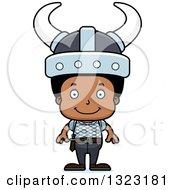 Clipart Of A Cartoon Happy Black Boy Viking Royalty Free Vector Illustration