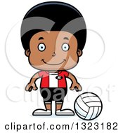 Clipart Of A Cartoon Happy Black Boy Volleyball Player Royalty Free Vector Illustration