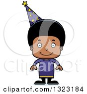 Clipart Of A Cartoon Happy Black Boy Wizard Royalty Free Vector Illustration