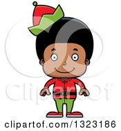 Clipart Of A Cartoon Happy Black Christmas Elf Boy Royalty Free Vector Illustration