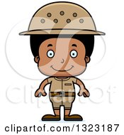 Clipart Of A Cartoon Happy Black Boy Zookeeper Royalty Free Vector Illustration