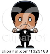 Clipart Of A Cartoon Mad Black Boy Groom Royalty Free Vector Illustration