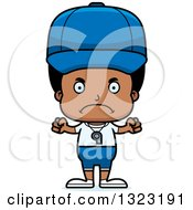 Clipart Of A Cartoon Mad Black Boy Sports Coach Royalty Free Vector Illustration