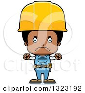 Cartoon Mad Black Boy Construction Worker
