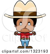 Clipart Of A Cartoon Mad Black Cowboy Royalty Free Vector Illustration