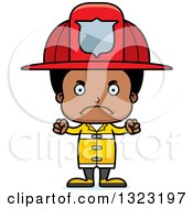 Clipart Of A Cartoon Mad Black Boy Firefighter Royalty Free Vector Illustration