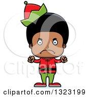 Clipart Of A Cartoon Mad Black Christmas Elf Boy Royalty Free Vector Illustration