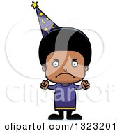 Clipart Of A Cartoon Mad Black Boy Wizard Royalty Free Vector Illustration
